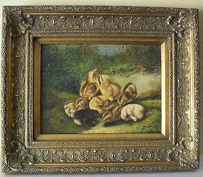 Beautiful Antique Ornate Gold Gilt Picture Frame W/Painting After Arthur F. Tait