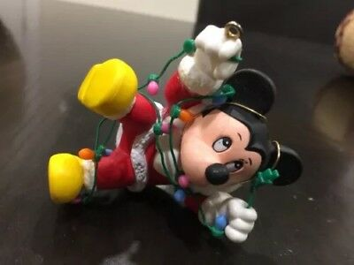 Disney Authentic Original 1988 Mickey Mouse Santa Christmas Ornament Figure VTG