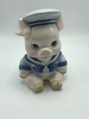 "Enesco ""Sailor"" Piggy Bank White w/ Blue 1989 Height 6"" Adorable Pig Ceramic"