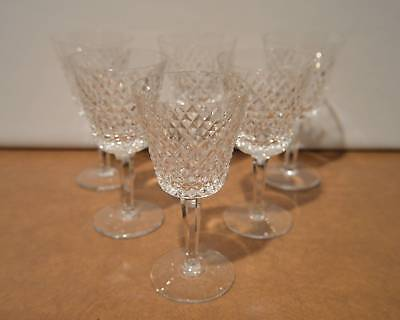 Set Of 6 Waterford Crystal Alana Claret Wine Goblet Stems