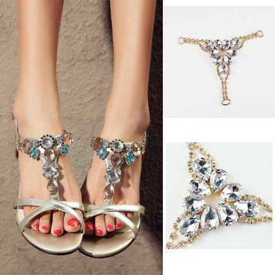 1 Pair Sandals Decoration Chain Crystal Flip Flops Slippers Decor Shoes Charms