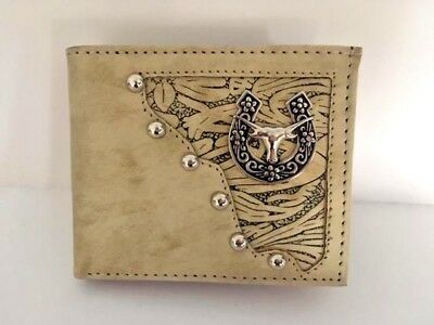 fa51fd299b92 WESTERN MEN LEATHER bull rider woven cowboy rodeo coffee checkbook ...