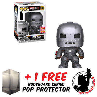 Funko Pop Marvel Iron Man Mark 1 10Th Ann Sdcc 2018 Exclusive Free Pop Protector