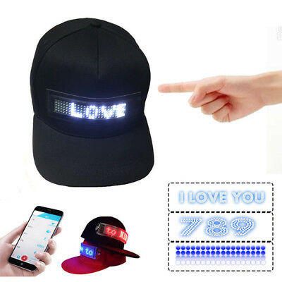 LED Cool Hat Fashion controlled Smartphone with Screen Light Waterproof