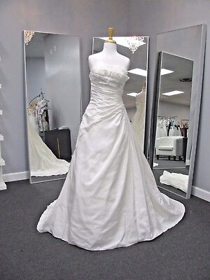 Alfred Angelo Wedding Gown #2103 size 10 Ivory taffeta ruching a-line UNIQUE