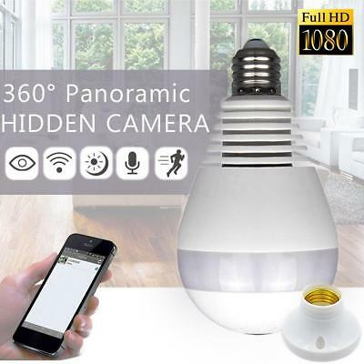 1080P WiFi Wireless Fisheye Hidden Bulb Light Spy Camera Lamp 360° Panoramic HD