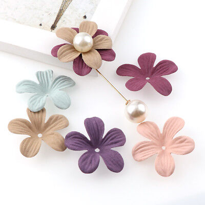 30Pcs Small Exquisite Leather Flowers Head Handmade Artificial Craft Decoration