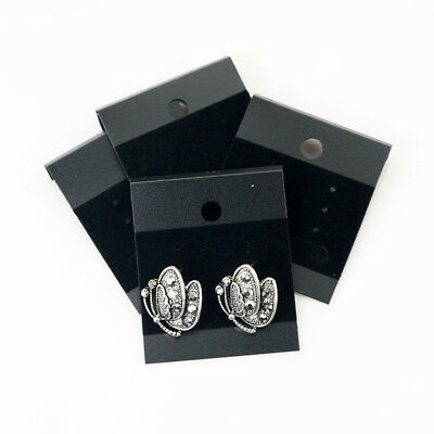 100 Pcs Black Velvet Jewelry Earring Display Hanging Cards Flocked