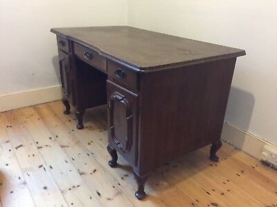 Vintage Twin Pedestal Desk, Solid Wood Mahogany With Nine Drawers