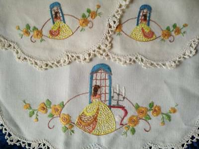 Gorgeous 3 piece Crinoline Lady Duchess Set   ~ Vintage Hand Embroidered