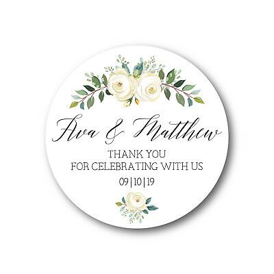 Personalised Thank You Wedding Sticker White Roses Floral