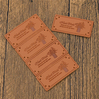 Vintage Tags PU Leather Labels Sewing Handcraft DIY Making Accessories 5 Pcs