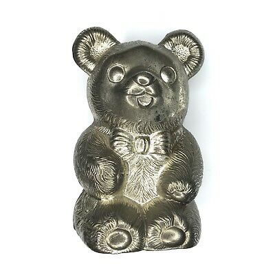 Leonard Teddy Bear Coin Bank Vintage Japan  Bow Tie Bear Metal Piggy Bank