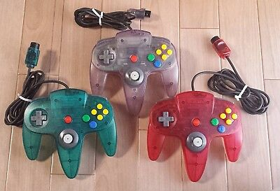 Nintendo 64 Three 3 Clear Controller Bros. N64 Official Tested&working