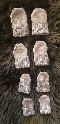 Hand Knitted baby mittens Preemie / premature / early baby up to 6 months