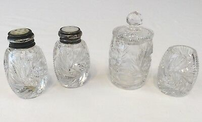 Antique Sterling & Mother of Pearl Salt & Pepper Cream & Sugar Cut Glass Set