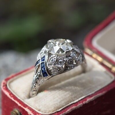 2.75Ct Round Cut With Blue Sapphire Vintage Art Deco Engagement Ring 925 Silver