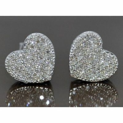 1.10Ct Round Cut Diamond Heart Shape Cluster Stud Earrings 14K White Gold Finish