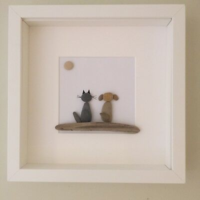 Pebble art dog & cat picture, cat & dog lover gift, personalised gift.