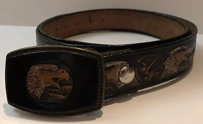 Alumaline Brass Buckle Buckle Eagle And Leather Belt Rodeo Western 4108