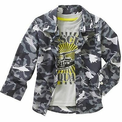 New Boys Toddler Infant Woven long Sleeve Shirt & Tee Set Grey Camoflage 24M