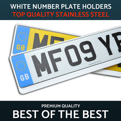 2 x Luxury White Stainless Steel Number Plate Holder Surround Frame Mercedes