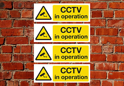 4 x CCTV Sign Vinyl Stickers, Security, Camera,Warning ,In Operation, 24 Hours