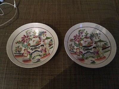 Pair Of Antique Early 19th Century English Newhall? Saucers