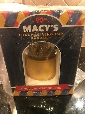 """Macys 90Th Thanksgiving Day Parade Limited Edition """" Musical Waterglobe"""" [New]"""