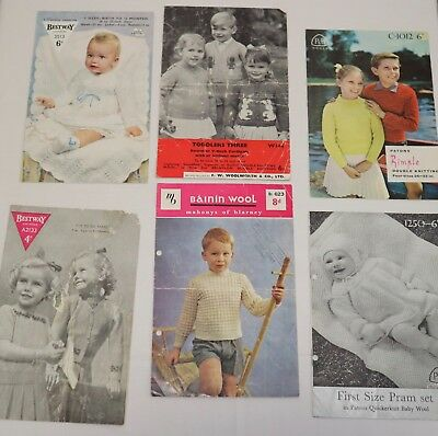 Job-lot of mixed vintage child and baby knitting patterns -see photos