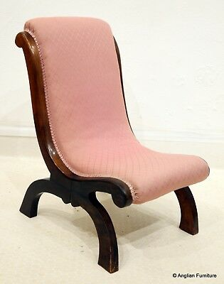 Antique Mahogany Nursing Chair With Pink Upholstery FREE Nationwide Delivery