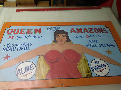 Vintage Freakshow  Sideshow  Circus Fair Carnival   Amazon Woman     Banner