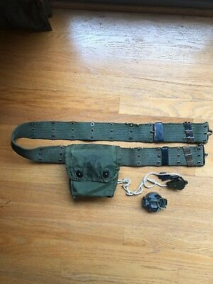 Vintage Military Insert First Aid Kit Case W/ Belt, Whistle, and Compass