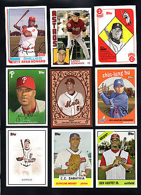 9 Lot 2008 Topps Trading Card History Ken Griffey Howard Wright Sabathia Rollins