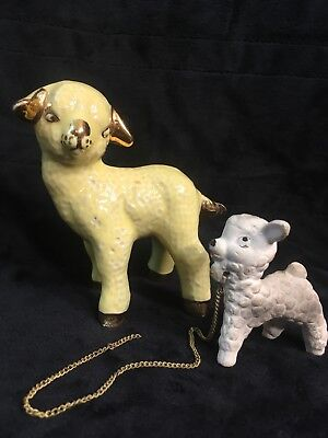 Vintage Porcelain Lamb Figurines Hand Painted Gold And Yellow & Smaller White