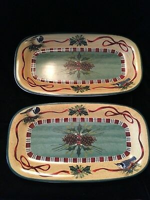 "Lenox WINTER GREETINGS EVERYDAY Set of 2-14"" Hors'doevre Trays -Exc Condition"