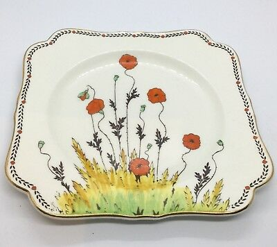 Crown Ducal Poppy Art Deco  Larger Square Cake Plate Perfect
