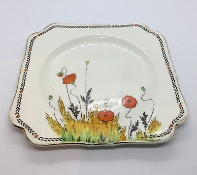 Crown Ducal Poppy Art Deco  Smaller Square Cake Plate Perfect