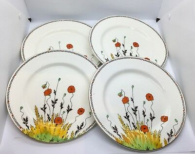 Crown Ducal Poppy Art Deco  4 X Small Dinner Plates Perfect