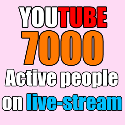 Youtube - 5000 ACTIVE LIVE Stream Vlewers, people watching