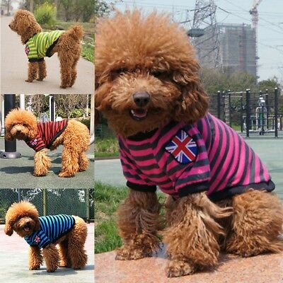 Pet Dog Cat Sweater Puppy Knit Flag Jacket Clothes Apparel For Small Medium Dogs