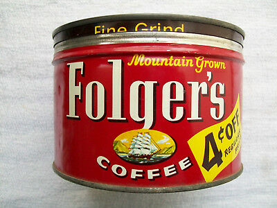 Vintage Folger's 1Lb Coffee Tin Copyright 1959