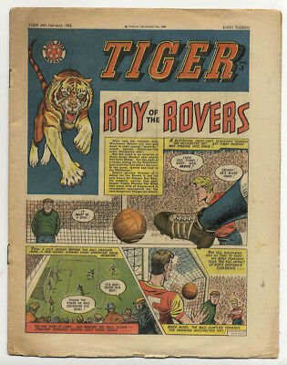 Tiger 24th Feb 1962 (Olac the Gladiator, Roy of the Rovers, Jet-Ace Logan)
