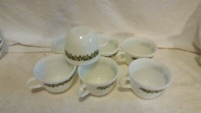 Vintage Pyrex Spring Blossom Coffee Cups (7), Mint