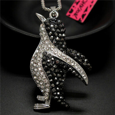 Betsey Johnson Lovely Penguin Black Crystal Rhinestone Pendant Chain Necklace
