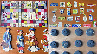 Antique 1915 ADVERTISING BOARD GAME - LITTLE SHOPPERS - BOARD & PLAYING PIECES