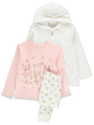 Kids Girls bunny print Pyjamas &  sparkling zip-up hoodie 3-piece Set 3-8 years
