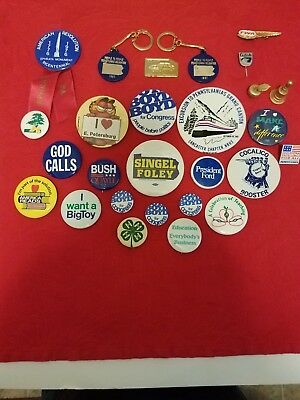 Lot of 25 Pinback Buttons Political,Education Lancaster Pa, Airline