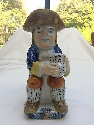 Antique Prattware Toby Jug With Hat Staffordshire English Early Pottery C1820