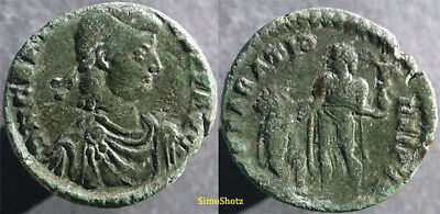 Ancient Roman Coin - Gratian - AE2 - Emperor Raising Kneeling Woman